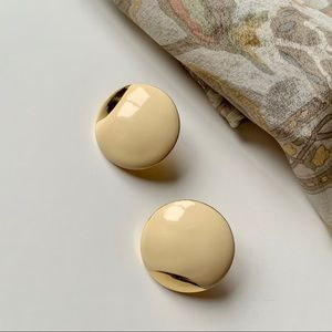 Vintage Coro cream enamel and gold tone earrings
